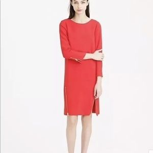 J. Crew | Double-zip shift Sheath dress Red